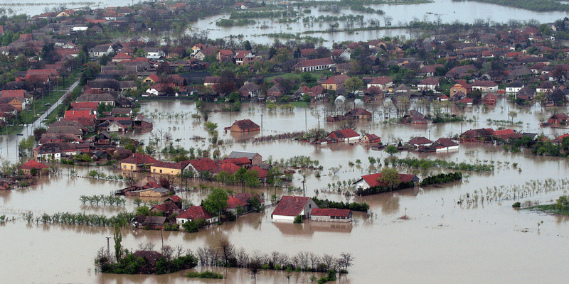 Flooding disaster of multiple houses
