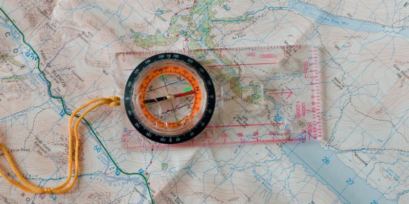 Map and compass as one of the land navigation techniques